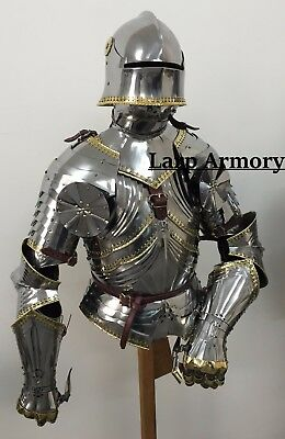 Medieval Reenactment Wearable Breastplate with Helmet suit of Armour