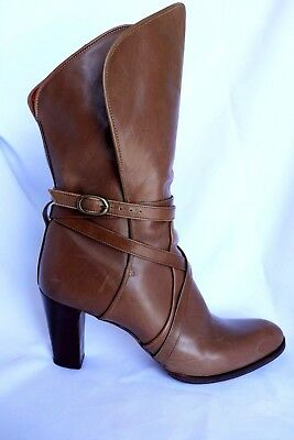 66cc728a0ac YSL Women's Yves Saint Laurent Brown Leather Boots Chaussures Strap Heels 9  AA