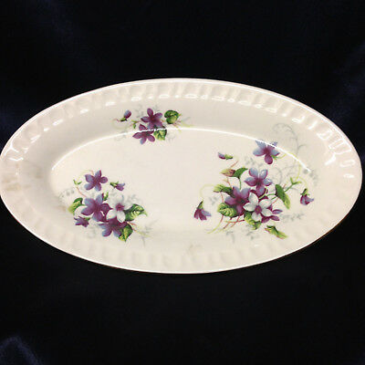 "Crown Staffordshire Crs170 Purple & White Flowers Oval Tray 8 3/4"" Gold Trim"
