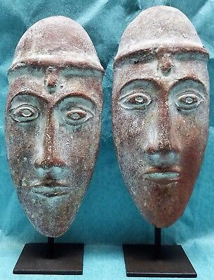 Mexican Clay Folk Art Masks (2), Mayan, Aztec, Ceramic, Pottery, with Stands