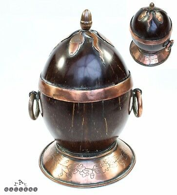 English Regency Coconut & Copper Oak & Acorns Box c.1800