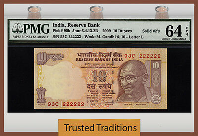 "Tt 2009 India 10 Rupees Exotic ""solid 222222 S/n Whoa"" Pmg 64 Epq Choice Unc!!!!"