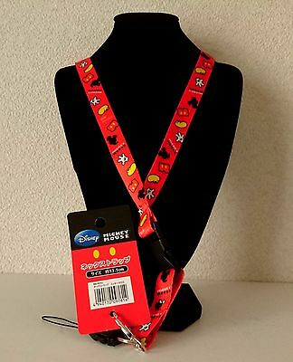 F/S by airmail !! Disney Mickey Mouse Key Chain ring Neck Strap Lanyard Japan