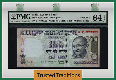 "TT PK 105h 2015 INDIA 100 RUPEES ""RARE SOLID SERIAL # 999999 WOW"" PMG 64 EPQ!!"