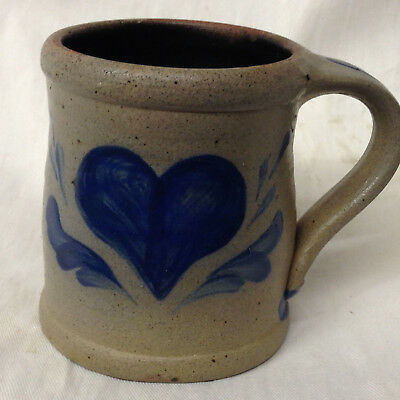 "Rowe Pottery Works 1993 Heart Mug 3 5/8"" Salt Glaze Blue"