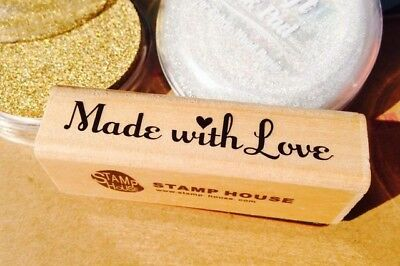 Made With Love Rubber Stamp- Crafts Labels Tags Ink Handmade Products Stickers