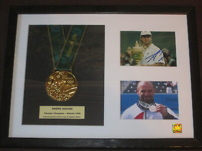 Andre Agassi Framed Signature With Olympic Medal  - Coa - Atlanta 1996