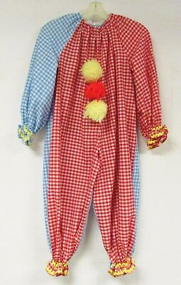 Vintage 70s Kids Clown Costume Halloween Novelty Circus Gingham Pennywise