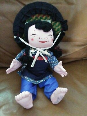"Vintage Michael Lee Hong Kong Artist Chinese Girl Doll 13""H"