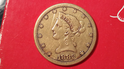 1882-CC $10 Gold Liberty VERY FINE cleaned  EXTREMELY RARE PIECE $10.00
