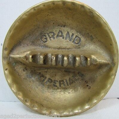 Old GRAND IMPERIAL Hotel Advertising Ashtray solid heavy brass trinkets tray