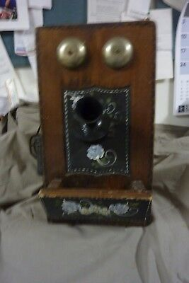Antique Vintage Tole Painted Wall Phone