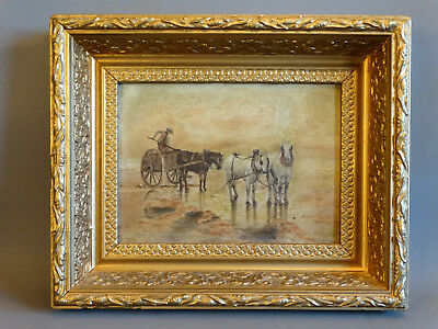Antique HORSE Drawn OYSTER CART at WATERS EDGE Fisherman Seascape PAINTING Frame