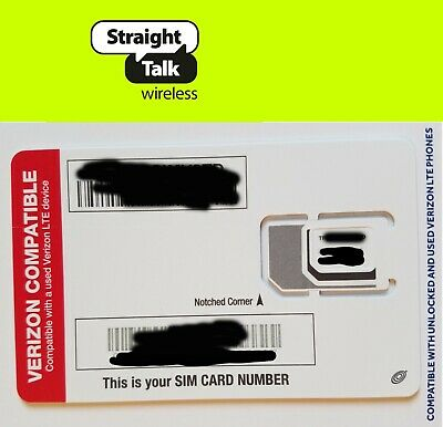 Straight Talk SIM card•Verizon Samsung Galaxy S5 S6 S7 Edge S8 S8+ S9 Plus Note