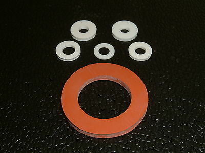 10 Silicone Washers- I/D's from 4.1mm up to 22.6mm, 11 different sizes