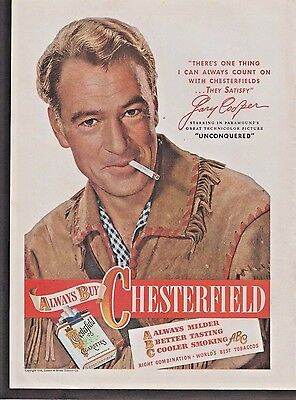Original 1948 Chesterfiled Cigarettes Gary Cooper Unconquered Art Print Ad