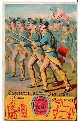 Continental Army in full Battle, waving American Flag. Continental Ointment Card