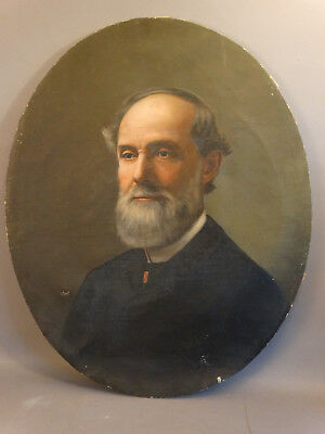 19thC Antique VICTORIAN Era GENTLEMAN Brother of Robert E. Lee PORTRAIT PAINTING