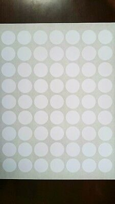 "4 Sheets 0.75"" 1"" 1.2"" 1.67"" 2"" 2.5"" inch White Circle Round Labels Stickers"