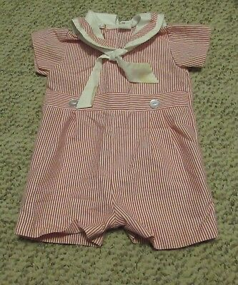 VINTAGE Bryan Baby JUMPER Shorts SAILOR COLLAR Red & White Stripes 18 Mos