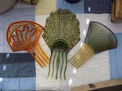 3 vintage bakelite/celluloid hair combs, europe
