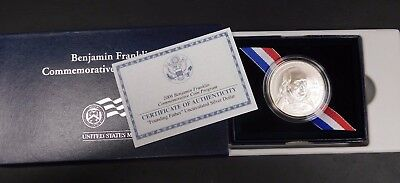 "2006 Franklin Commemorative Unc Silver Dollar ""Founding Father""! With Box/Coa"