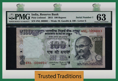 "Tt  2015 India 100 Rupees ""ghandi"" Exciting Low S/n# 000001 Pmg 63 Choice Unc!"