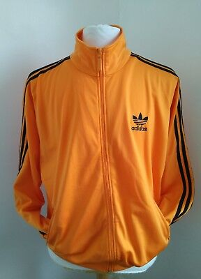 Adidas retro track suit top jacket orange black size D5 38/40