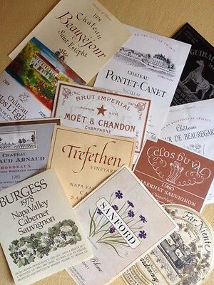 50+ Wine Labels -  Frame, Put under Glass on a Bar, Decoupage a Lampshade or Box