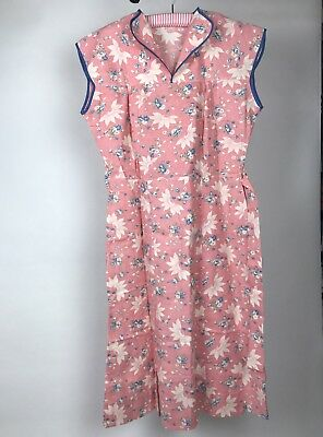 VTG 30s Women's Feedsack Feed Sack Day Dress Pink & Blue Roses Floral Size M