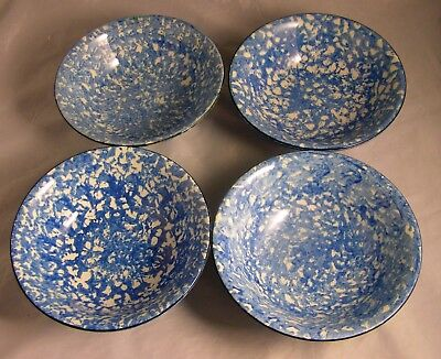 4~Royal Cumberland For Royal Copenhagen Spongeware Blue Town & Country Bowls