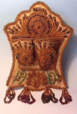 Antique 1910 Native American Indian Iroquois Beaded Beadwork Match Safe Holder