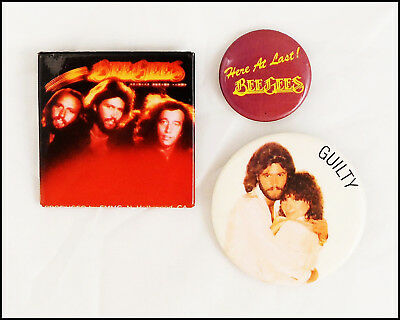 Bee Gees Lot Of 3 70's 80's Buttons Guilty Promo Barbra Striesand Barry Gibb