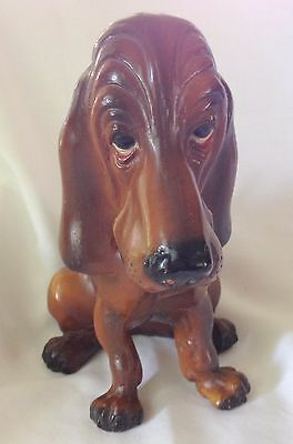 """Breyer Molding Co. Basset Hound Dog Figurine Droopy Eyes w/ Red 7 1/4"""" Statuette"""