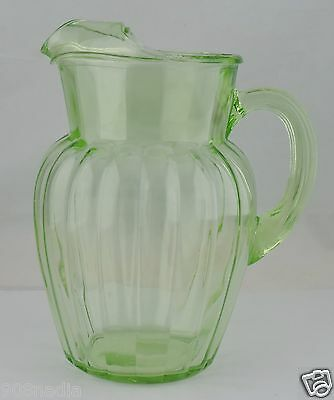 Vintage Vaseline Glass Green Vertical Pitcher W/ Ice Lip Glassware