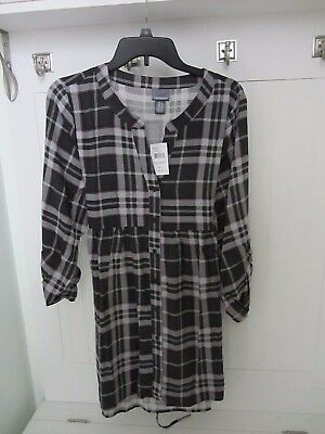 OH BABY MOTHERHOOD $44 Long Roll Tab Sleeve Gray Plaid Maternity Top Shirt Large