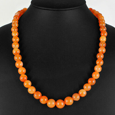 330.00 Cts Natural Rich Orange Carnelian Untreated Round Shape Beads Necklace