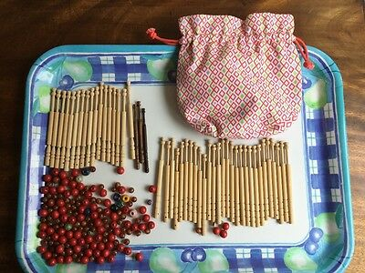 wooden turned lace making bobbins and beads