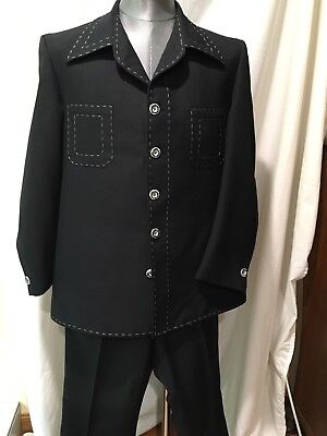 Vtg Men's 60s 70s Polyester Leisure Suit Jacket 42 Pants 38 X 30 Disco Black