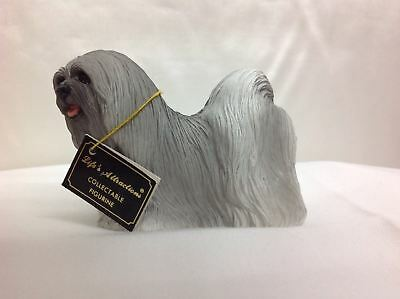 Lhasa Apso Gray Dog Figurine Statue Replica Collectible Hand Painted DF10A
