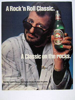 1987 Ringo Starr photo Sun Country Classic Wine Cooler vintage print Ad