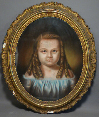 19thC Antique VICTORIAN Young GIRL RING CURLS Old PASTEL PORTRAIT PAINTING Frame