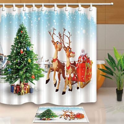 "72//79/"" Christmas Tree Gifts Covered by Snow Fabric Shower Curtain Bath Mat Rug"