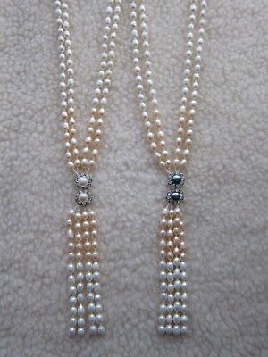 "Long 6-7 mm Freshwater Cultured Pearl Necklace & Diamante - 23"" long + 6"" Tassel"
