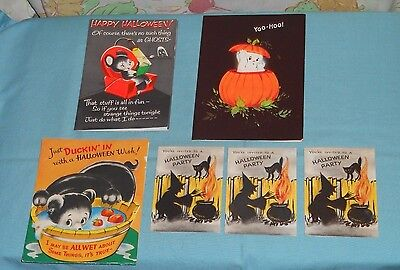 vintage HALLOWEEN GREETING CARDS & INVITATION LOT of 6 Hallmark Norcross Volland