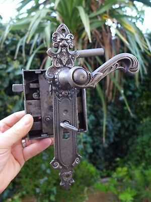 Vintage/antique beautiful large metal door lock with key working order 14-03