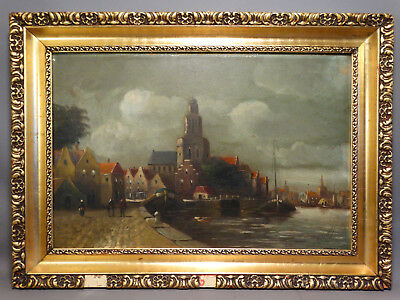 Antique ITALIAN Italy TOWN by SEA Ships HARBOR Old FOLK ART CityScape PAINTING
