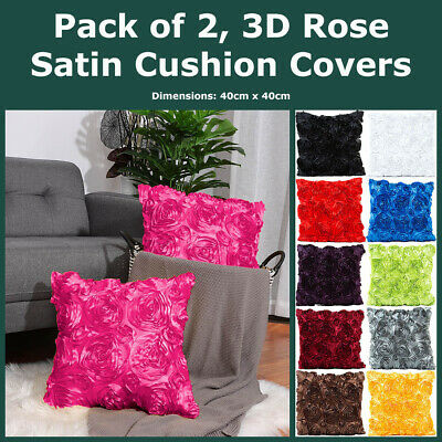 Pack of 2, 3D Satin Rosette Cushion Covers Faux SIlk Roses Throws Pillow Cases