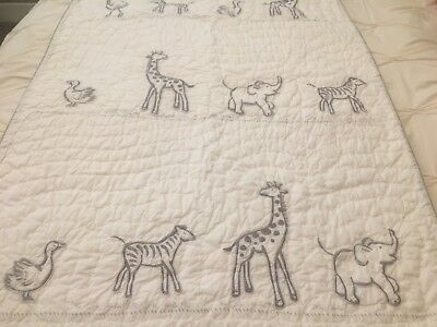 Pottery Barn Kids Nursery Reese Quilt. Elephant. Giraffe. Excellent Condition.