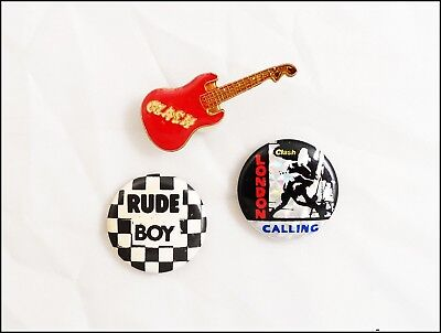 The Clash 80's Lot Of 2 Buttons & Pin London Calling Prism Reflective Button